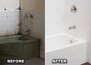 Before and after bathtub replacement