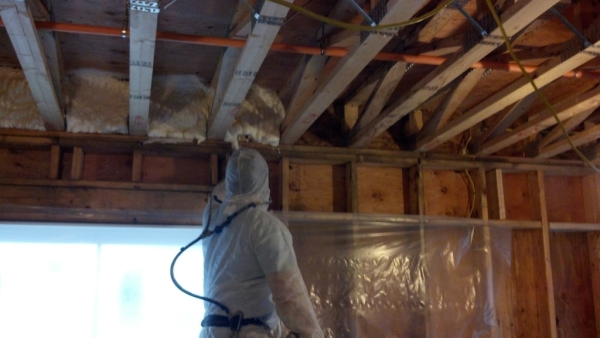 Coastal Spray Foam Insulation in Connecticut CT - Band Joists - Westminster School - Icynene LDC50 Open Cell