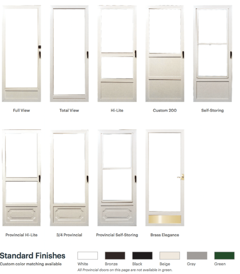 A collection of custom storm doors