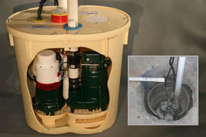 Comparison of an old sump pump versus the TripleSafe sump pump