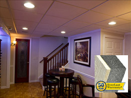 Our basement wall panel system is completely waterproof and comes with a 50-year warranty.