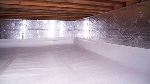Crawl space with vapor barrier installed in Traverse City, MI