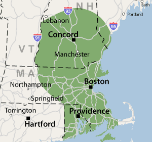 Our Southeast New England Service area in Massachusetts, Rhode Island, and New Hampshire