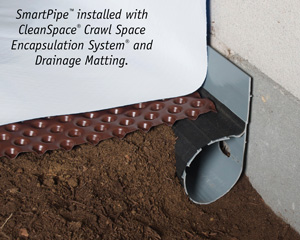 Crawl space drainage, encapsulation & drainage matting installation in Lowell