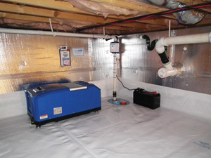 Crawl space drainage & dehumidification in Boston