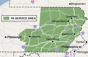 Our Pennsylvania service area map, showing our services in Reading and nearby