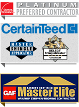 CertainTeed Master Shingle Applicator, Owens Corning Platinum Preferred Contractor, GAF Master Elite