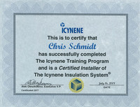 Certified Installer of The Icynene Insulation System